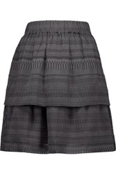 Iro Jade Tiered Silk And Cotton Blend Mini Skirt Gray