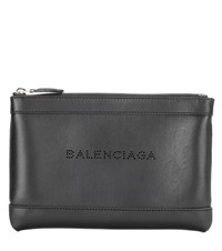 Balenciaga Navy Clip Small Pochette Leather Clutch Black