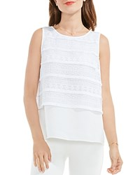Vince Camuto Fringe Trim Tank Top Ultra White