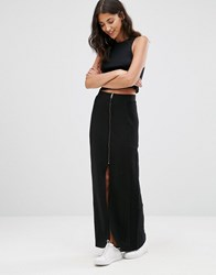 Only Zip Front Maxi Skirt With Slit Black Iris Blue