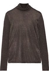 Missoni Metallic Stretch Knit Turtleneck Sweater Blue