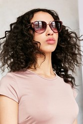 Urban Outfitters Cafe Slim Square Sunglasses Maroon
