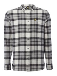 Lyle And Scott Men's Long Sleeve Check Flannel Shirt Charcoal Marl