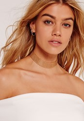 Missguided Chain Mesh Choker Necklace Gold Gold