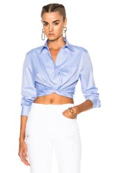Alexander Wang T By Cotton Twill Twist Front Long Sleeve Shirt In Blue