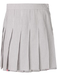 Thom Browne Seersucker Mini Pleated Skirt Grey