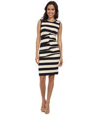 Nicole Miller Stripe Jersey Tank Dress W Cutout Ivory Navy Women's Dress White