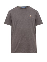 Polo Ralph Lauren Embroidered Cotton Jersey T Shirt Grey