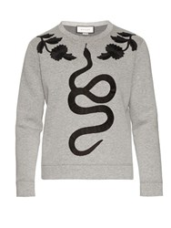 Gucci Snake Applique Cotton Jersey Sweatshirt Grey Multi