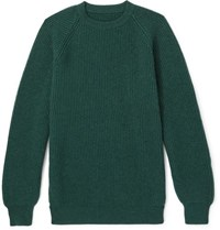 Anderson And Sheppard Ribbed Cashmere Sweater Forest Green
