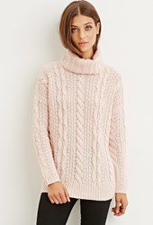 Forever 21 Cable Knit Turtleneck Sweater Pink