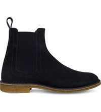 Bottega Veneta Stiched Detail Suede Ankle Boots Navy