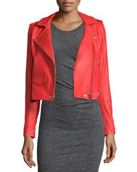 Iro Studded Leather Moto Jacket Blood Orange Women's