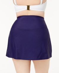 Island Escape Plus Size Tummy Control Swim Skirt Created For Macy's Swimsuit Navy