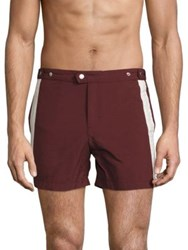 Solid And Striped Kennedy Side Shorts Burgundy Cream