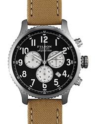 Filson The Mackinaw Field Chronograph Tincloth And Leather Strap Watch 43Mm Navy