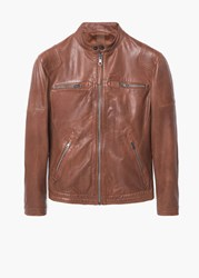 Mango Leather Biker Jacket Dark Brown