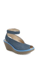 Women's Fly London 'Yala' Perforated Leather Sandal Blue Cupido Mousse Leather