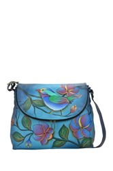 Anuschka Hand Painted Leather Large Flap Bag Multi