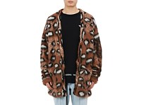 Off White Men's Leopard Pattern Wool Blend Cardigan Brown Tan