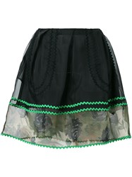 Coach Sheer Detail Mini Skirt Women Silk Cotton Polyamide Polyester 2 Black