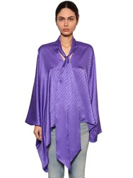 Balenciaga Draped Satin Jacquard Shirt Purple