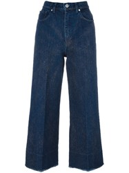 Cedric Charlier Glitter Detail Cropped Jeans Blue