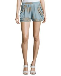 Bishop Young Luna Print Crepe Shorts Light Blue