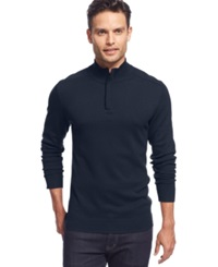 Alfani Red Big And Tall Solid Quarter Zip Sweater Neo Navy