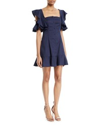 Kendall Kylie Ruffle Sleeve Button Up Mini Dress Navy