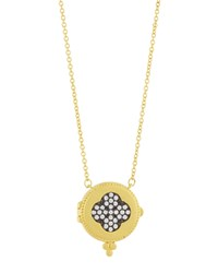 Freida Rothman Two Tone Pave Clover Locket Necklace Women's