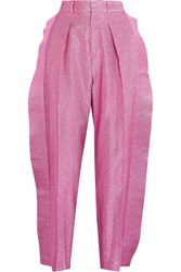 Gucci Ruffled Cropped Metallic Tapered Pants Pink