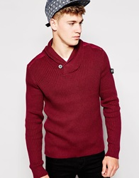 Firetrap Shawl Collar Rib Sweater Red