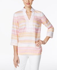 Charter Club Linen Striped Tunic Only At Macy's Dusted Melon Combo