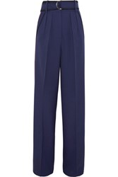 Roksanda Ilincic Tillae Satin Trimmed Wool And Silk Blend Wide Leg Pants Midnight Blue