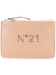 N 21 No21 Logo Plaque Clutch Nude And Neutrals