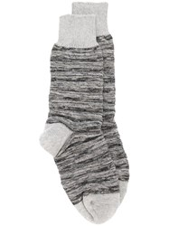 Issey Miyake Men Ribbed Knit Socks Men Cotton One Size Grey