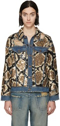 Ashish Blue Denim Sequinned Python Jacket