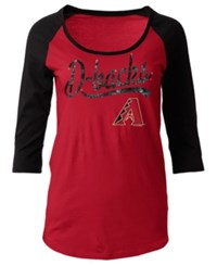 5Th And Ocean Women's Arizona Diamondbacks Sequin Raglan T Shirt Red Black