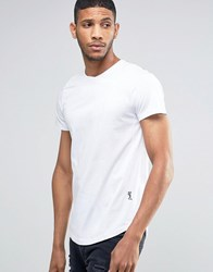 Religion Curved Hem T Shirt With Cross Over Neck Detail White