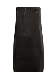 Versace Strapless Pleated Leather Mini Dress Black