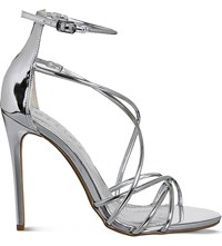 Office Angel Metallic Heeled Sandals Silver Mirror