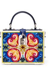 Dolce And Gabbana Embellished Leather Trimmed Painted Wood Clutch Blue