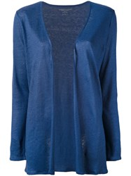 Majestic Filatures Open Front Cardigan Women Linen Flax I Blue