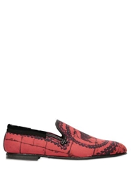 Dolce And Gabbana Toro Printed Canvas Loafers Red
