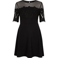 River Island Womens Black Mesh And Lace Panel Skater Dress
