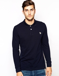 Paul Smith Jeans Polo With Zebra Logo In Long Sleeves Blue