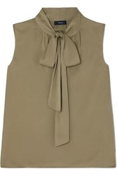 Theory Pussy Bow Silk Blend Crepe De Chine Top Army Green