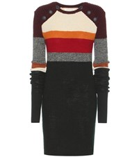 Etoile Isabel Marant Duffy Striped Wool Sweater Dress Multicoloured