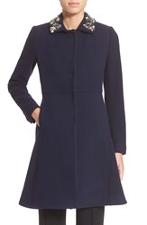 Rebecca Taylor Embellished Collar Fit And Flare Wool Coat Navy